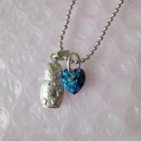 Stacking Doll Necklace Blue Heart Crystal Ball Chain Silver | LittleApples - Jewelry on ArtFire