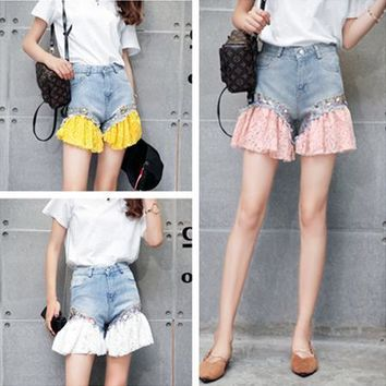 All-match Fashion Multicolor Sequin Bead Stitching Flower Lace Denim Shorts Jeans