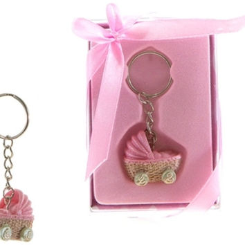 Baby Stroller Key Chain - Pink - 48 Units