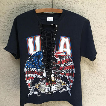 Lace UP USA T Shirt LF Style Eagle Flag Patriotic Size Medium Upcycled and Edgy American Eagle Graphic