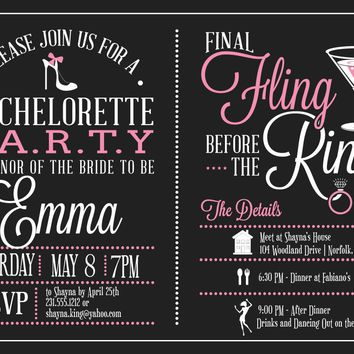 Bachelorette Itinerary Invitation