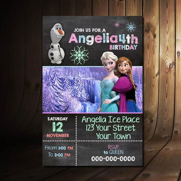 Printable Frozen Invitation Chalkboard  Frozen Birthday  Frozen Invite  Frozen Printable  Frozen Party