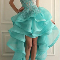 Backless High Low  Prom Dresses 2016 New Ruched Formal Evening Party Dress Pageant Gown Custom US Size