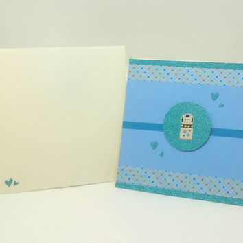 Handmade Greeting card, Swarovski crystal, Thank you card, Birthday Card, Kokeshi, Japanese doll, Washi Tape, blue