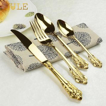 Vintage Luxury Gold Plated 24pcs Cutlery Dining Knives/Forks/Teaspoons Set