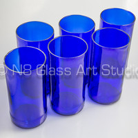 6 Pack - Blue Recycled Beer Bottle Glasses / Tumblers, FLAME POLISHED RIMS, Upcycled Glassware, Sustainable, Eco-Friendly, Tumblers Cups Bar