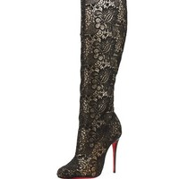 Christian Louboutin Tennissina Net Lace Red Sole Boot, Black