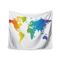 """Rainbow World"" Rainbow World Wall Tapestry"