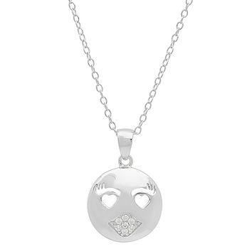 Cubic Zirconia Kissy Face Emoji Pendant-Necklace in Sterling Silver on an 18 inch chain