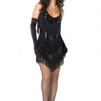 BLACK ROARING 20S HONEY 2 PIECE SEXY COSTUME OUTFIT @ Amiclubwear costume Online Store,sexy costume,women's costume,christmas costumes,adult christmas costumes,santa claus costumes,fancy dress costumes,halloween costumes,halloween costume ideas,pirate co