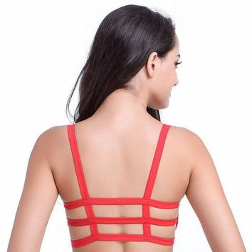 CREYONHS 2016 Hot  Sexy Fashion Women Soft  Cotton Padded Bra Crop Tops 3 Band Vest Cut Out  Beach Tank Tops 6Colors