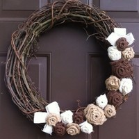 Shabby Chic Wreath Burlap Flowers Roses on Grapevine for Front Door