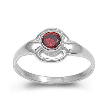 Sterling Silver Solitaire Round CZ Garnet 8MM CZ Petite Rings