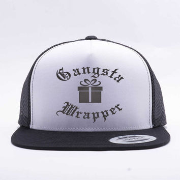 Gangsta Wrapper™. Trucker Hat. Flatbill. Snap Back Hat. Adjustable Size. Funny Christmas Cap. Gangsta Wrapper Hat. Embroidered.