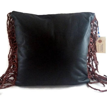 Black Pigskin Leather Pillow with Cognac Cowhide Double Twist Fringe Sides, Eco Friendly Insert, Black Leather Pillow Cover, Size 14 x 14