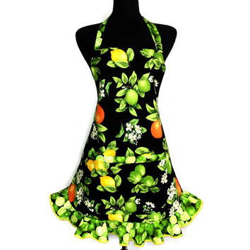 Retro Kitchen Apron for Women , Lemons and Oranges with Lime Ruffle ,  Citrus Decor