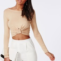 Missguided - Knot Front Jersey Crop Top Camel