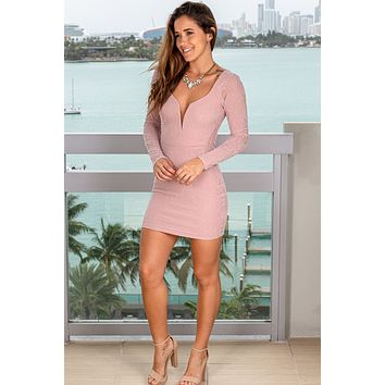 Mauve Velvet Short Dress