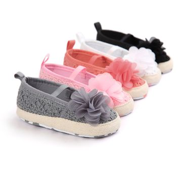 Girls Romirus Crocheted Lace Ballet Flats with Flower