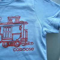TRAIN Tshirt - Kids Caboose Train Tshirt  2, 4, 6T. Super Cute Baby Blue with Red Caboose T-Shirt for Toddlers and Kids