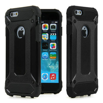 Black Hybrid Neo Shockproof TPU Hard Plastic Tough Dual Layer Armor Case for Apple iPhone 5 5s SE 6 6s 6 Plus 6s Plus 7 & 7 Plus
