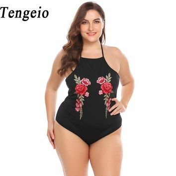 Tengeio Sexy Plus Size 3XL Bodysuit Women Black Body Femme Halter Sleeveless Embroidery Floral Backless Body Suit Rompers 920