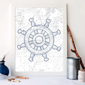 Shipwheel art print, vintage nautical print, bathroom decor, nautical nursery art, sealife bathroom art, sealife home decor, A-1060