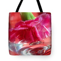 Pink Flower In Glass Tote Bag