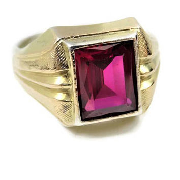 Men's Lab Ruby Ring, 10k Gold and Sterling, US Size 7 1/2, 4.95 Carat, Vintage Men's Ring