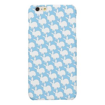 Happy Easter White Bunny Pattern on Blue Matte iPhone 6 Plus Case