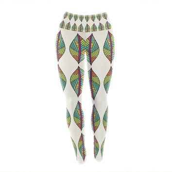 "Pom Graphic Design ""Tribal Leaves"" Yoga Leggings"