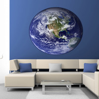 Full color decal Planet Earth sticker, Planet Earth wall art decal gc416