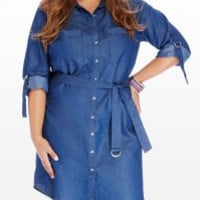 Blue Turn-Down Collar Long Sleeve Belted Plus Size Denim Dress