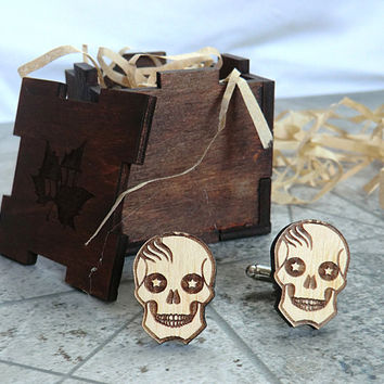 Skull Cufflinks Wooden Cufflinks Groomsmen gift Star Wars gift Cuff links Valentines gifts for him Wedding Gifts for men