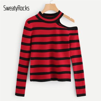 SweatyRocks Two Tone Cut Out Shoulder Jumper Women Sweater Long Sleeve Striped Pullover Clothes 2018 Fall Red Womens Sweaters