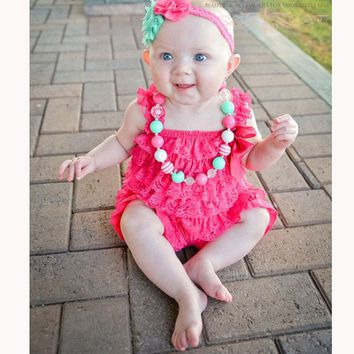 97fe569c06ad Baby Girls Clothes Infant Toddler Hot Pink Lace Romper Newborn R