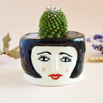Louise Brooks ceramic vase Sample SALE - 30%  Porcelain vase Quirky handmade pottery Illustrated ceramics