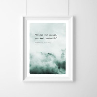 Poster quote travel far enough, you meet yourself, Cloud Atlas Decor, Quote, Inspirational,Typography Poster,Gift,live Quote, Inspirational,