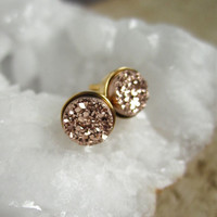 Tiny Rose Gold Druzy Earrings Titanium Drusy Quartz Studs Gold Vermeil Bezel Set
