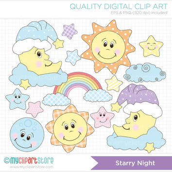 Starry Night / Baby Dreams / Sun, Moon, Stars Clip Art / Digital Clipart - Instant Download