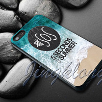 5sos on Sand and Water Cover - iPhone 4 4S iPhone 5 5S 5C and Samsung Galaxy S3 S4 Case