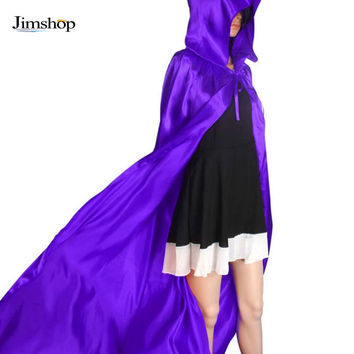 Black/Red/Purple Halloween Hooded Cloak Coat Wicca Robe Medieval Cape Wedding Cloak Cosplay Coat Shawl JFY66