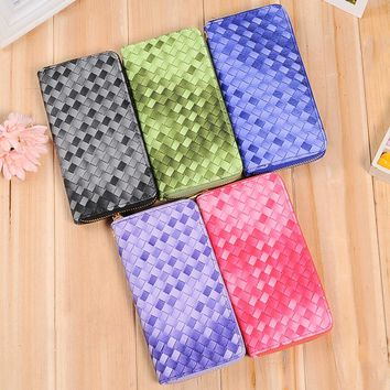 (1Pcs/Sell)PU gradual change weaving Grid Womens Wallets & Purses High Quality Wallet Women Luxury Brand Famous Brands 2017 new