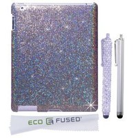 iPad 2/3 Case - Glitter Hard Cover Compatible with Apple iPad 2 and 3 - Plus 1 Bling Stylus - 1 Long Stylus - 1 ECO-FUSED® Microfiber Cleaning Cloth (Silver)
