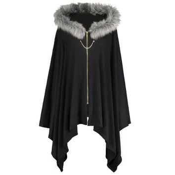 ZAFUL Women Winter New Vintage Cape Coats Asymmetric Faux Fur Panel Plus Size Tops Warm Woolen Hooded Coat Wool Cape Outerwear