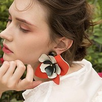 Fashion Personality Exaggeration Boho Flower Earrings Women Accessories