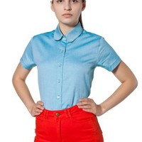 American Apparel Pinpoint Oxford Round Collar Short Sleeve Button-Up
