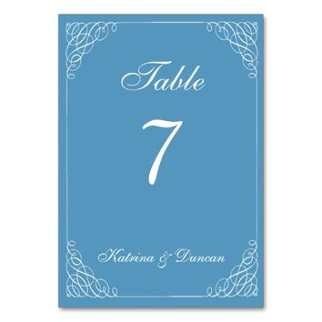 Elegant Swirl Cool Blue Personalized Table Card