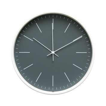 """Contemporary Interior Design Minimalist Palette 12"""" Silent Non-Ticking Sweep Wall Clock with White Gloss Frame (Artic Gray) …"""