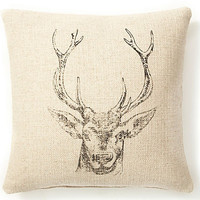 One Kings Lane - Cozy Cabin Cushions - Deer 20x20 Pillow, Sand